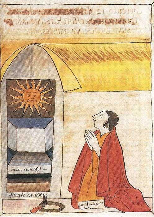 Ilustración del siglo XVII realizada por Martín de Murúa en la que podemos ver al inca Pachacútec rezando a Inti, el dios del Sol. (Public Domain)