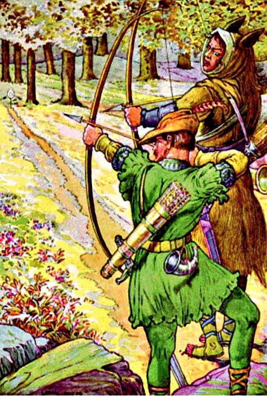 """Robin Hood es un personaje de muchos relatos y leyendas. ¿Pero cuántos de ellos son ciertos, de serlo alguno? En la imagen, Robin Hood con Sir Guy, ilustración del libro de Louis Rhead """"El valiente Robin Hood y su banda de proscritos: sus famosas hazañas en el Bosque de Sherwood"""". (Wikimedia Commons)"""