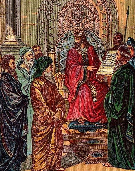 Salomón mostrando los planos del Primer Templo de Jerusalén, ilustración de una tarjeta publicada por Providence Litograph Co. (Public Domain)