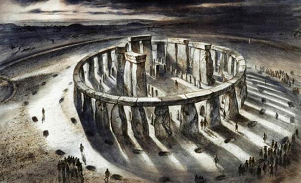 Recreación artística de la posible apariencia de Stonehenge en el año 1000 a. C., ilustración de Alan Sorrell