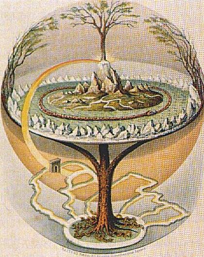 Ilustración de Yggdrasil (árbol de la vida nórdico) tal y como aparece descrito en la Edda Menor islandesa de Oluf Olufsen Bagge (Public Domain)
