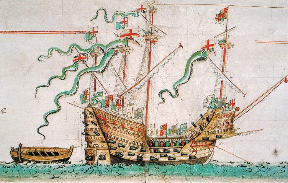 Ilustración realizada en 1547 en la que aparece la Mary Rose, carraca de la época de los Tudor en la que se encontraron numerosos peines para piojos. (Wikimedia Commons)