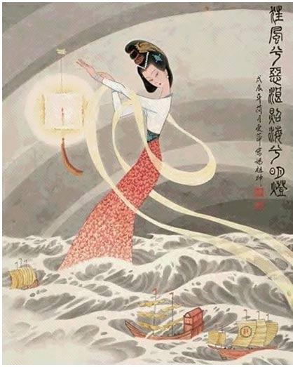 Ilustración de Mazu, que al caer en trance salvó a su padre y hermanos de morir ahogados en una terrible tormenta