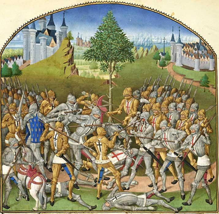 Ilustración del siglo XV en la que aparece representado el Combate de los Treinta, de la obra de Pierre le Baud 'Compillation des cronicques et ystoires des Bretons', 1480. (Dominio público)