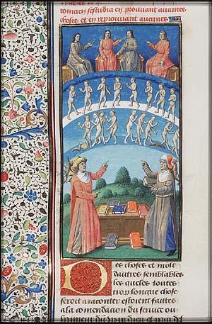 Los filósofos Porfirio y Plotino discuten sobre astrología en esta ilustración de un manuscrito medieval. (Dominio público)