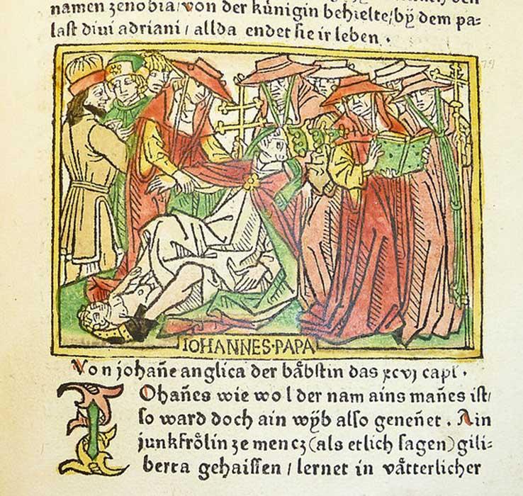 Grabado en madera con una ilustración de la papisa Juana dando a luz, 1473. (CC BY 2.0)