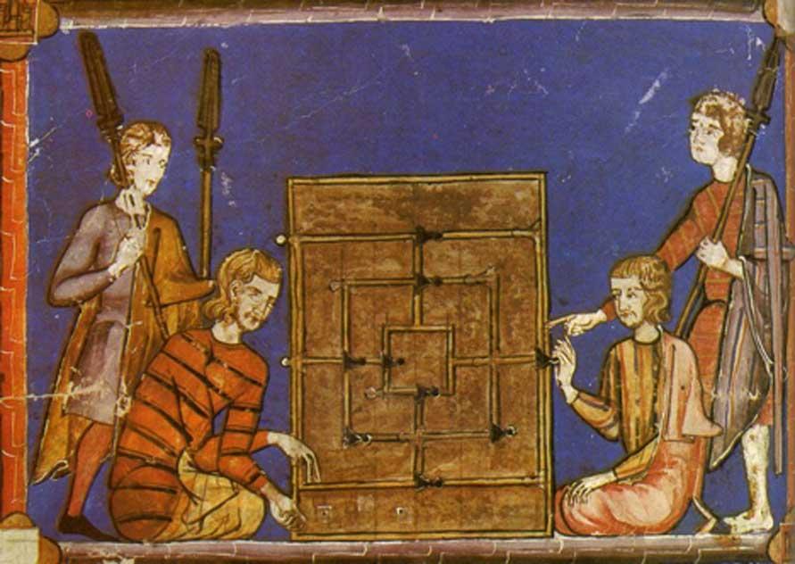 Hombres jugando al alquerque de nueve con dados, ilustración de la obra 'Juegos de todo el mundo' (1975) de Frederic V. Grunfeld (Dominio público)