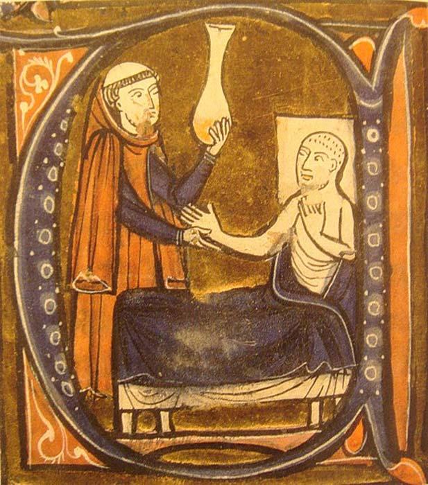 """Ilustración europea medieval del médico persa Al-Razi en la obra de Gerardus Cremonensis """"Recueil des traités de médecine"""" (1250-1260). Un cirujano (izquierda) examina el contenido de la mátula, recipiente utilizado antiguamente para recoger la orina. (Dominio público)"""