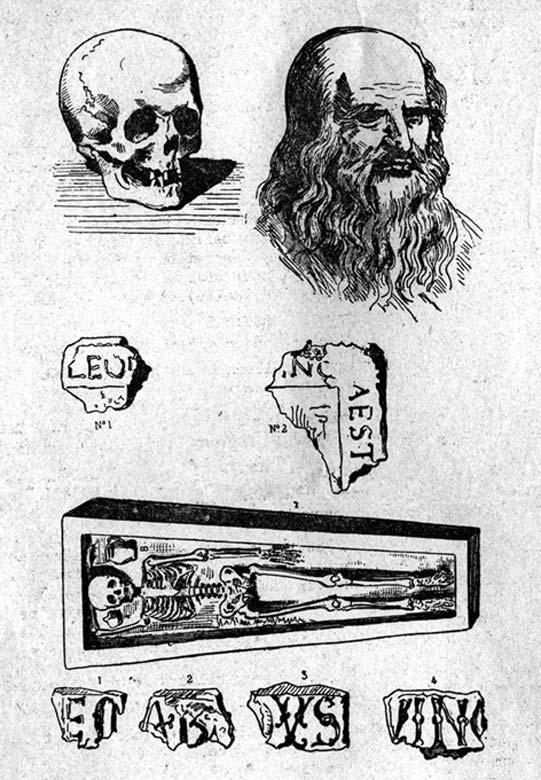 Ilustración de los que presumiblemente serían los restos de Leonardo da Vinci enterrados en Amboise, Francia. (Museo Ideale Leonardo da Vinci)