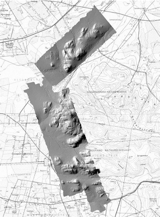 Imagen láser de Kweneng superpuesta sobre un mapa de la zona. (Fuente: Universidad del Witwatersrand)