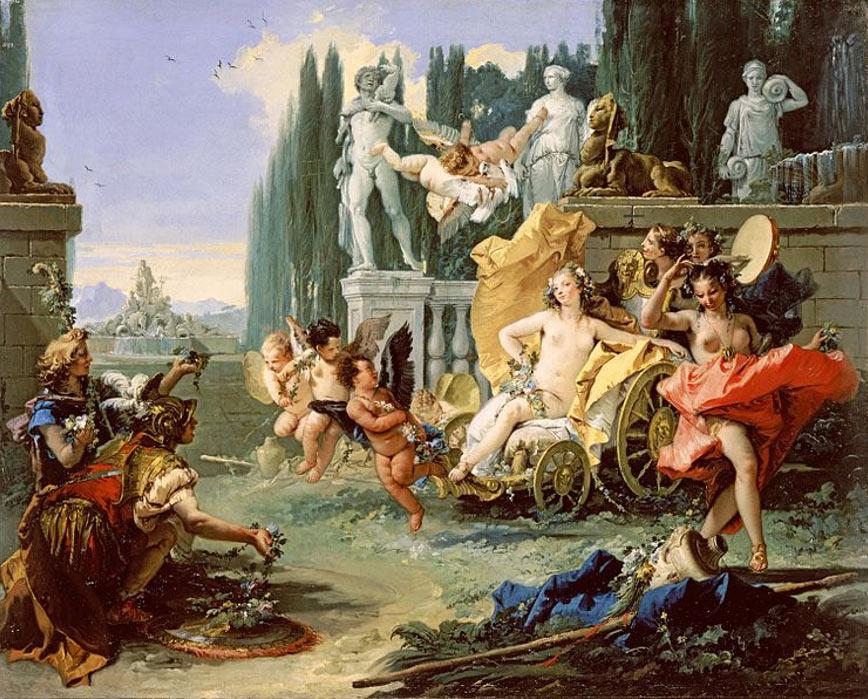 'El imperio de Flora' (circa 1743), óleo de Giovanni Battista Tiepolo. (Dominio público) La pintura está basada en el relato de Ovidio sobre las Floralia, una festividad en honor a la diosa romana Flora en la que participaban prostitutas.
