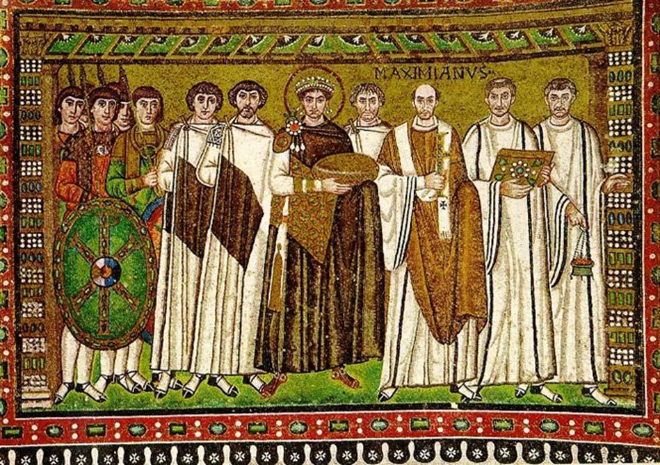 El emperador Justiniano aparece representado con un halo alrededor de su cabeza en el centro de este mosaico de Rávena, Italia. (Michleb/CC BY SA 3.0)