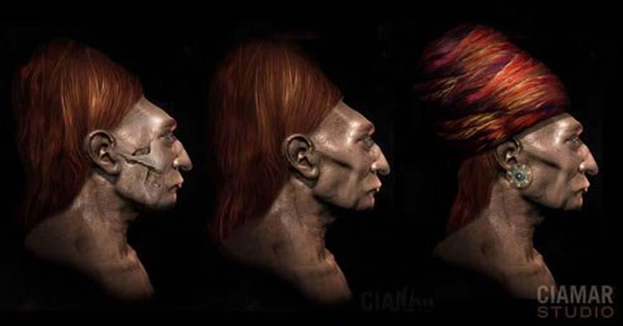 Recreación artística de un antiguo indígena basada en un cráneo Paracas. Imagen: Marcia Moore / Ciamar Studio