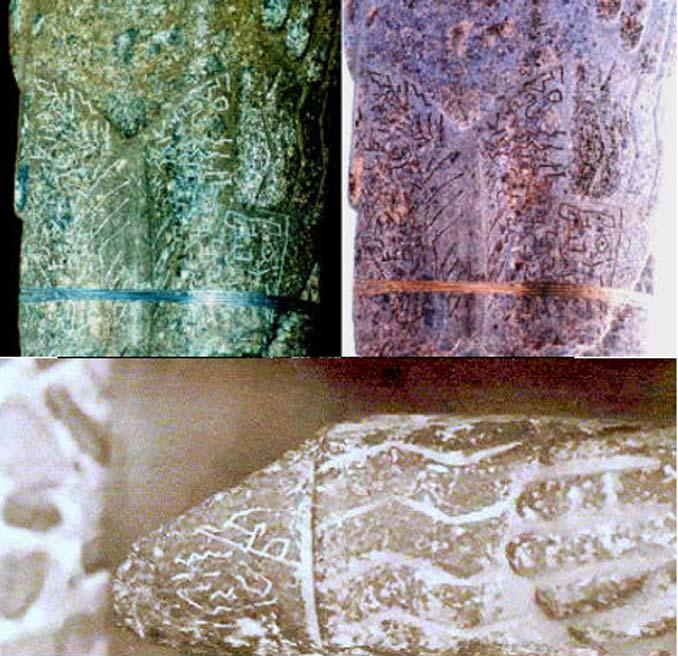 Arriba: Inscripciones en las piernas del Monolito de Pokotia. Abajo: Detalle de las inscripciones sobre la mano izquierda del Monolito de Pokotia. (Fotografías aportadas por el autor)