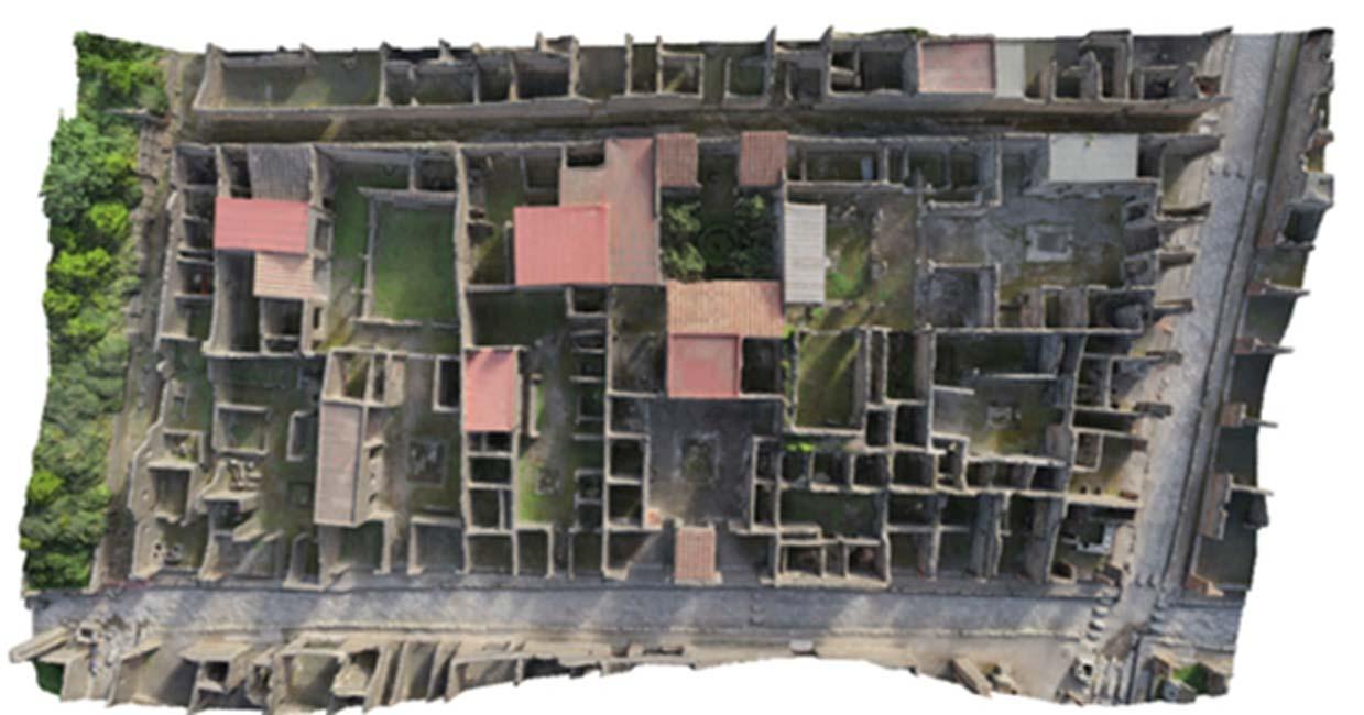 La Insula VI, el bloque de la antigua Pompeya reconstruido digitalmente por arqueólogos suecos, a vista de pájaro. (Proyecto Pompeya)