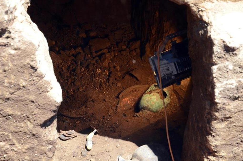 El interior de la tumba de la 'Princesa Etrusca.' (ANSA)
