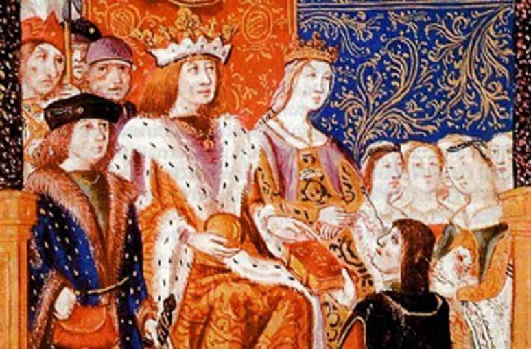 Fernando e Isabel con sus súbditos. (Dominio público)