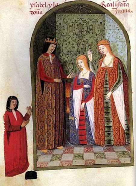 Los Reyes Católicos con su hija Juana, c. 1492. (Dominio público)
