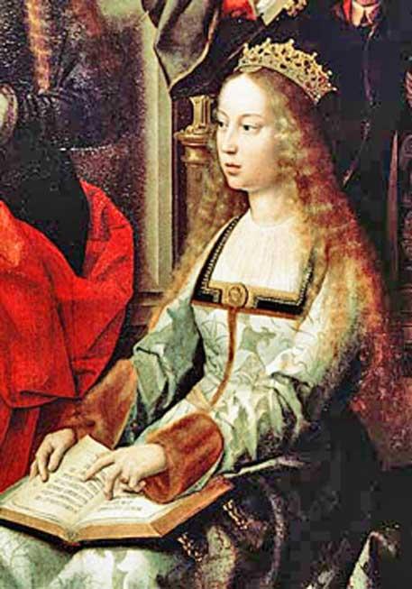 """Isabel I de Castilla, tal y como aparece en la pintura """"Virgen de la mosca"""", conservada en la Colegiata de Santa María la Mayor de Toro. (Dominio público)"""