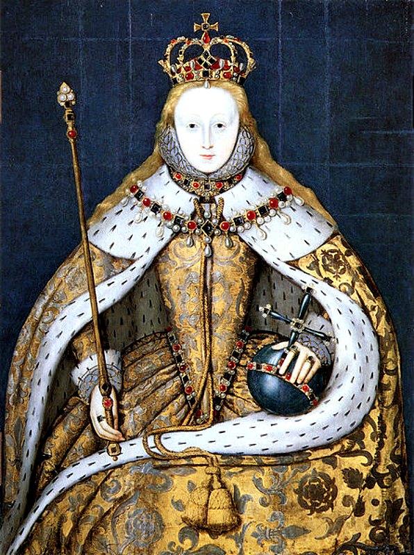 La reina Isabel I de Inglaterra con las vestiduras de su coronación, decoradas con rosas Tudor y ribeteadas de armiño. Lleva el pelo suelto, como era tradicional en la coronación de una reina, quizás como símbolo de virginidad. La pintura es obra de un artista anónimo y data de principios del siglo XVII. National Portrait Gallery de Londres, Inglaterra. (Public Domain)