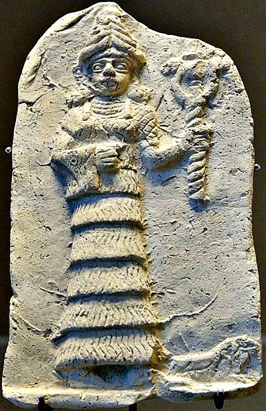 Ishtar empuñando su cetro. Relieve de terracota de principios del II milenio a. C. procedente de Eshnunna. Museo del Louvre de París, Francia. (Marie-Lan Nguyen/CC BY-SA 2.5)