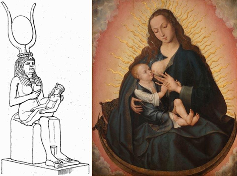 Dibujo de una estatuilla de Isis con su hijo Horus en su regazo (1888). (Public Domain). A la derecha, 'Madonna Lactans' (siglo XVI), obra de un artista desconocido de Brujas. Museu de Aveiro, Portugal. (Public Domain)