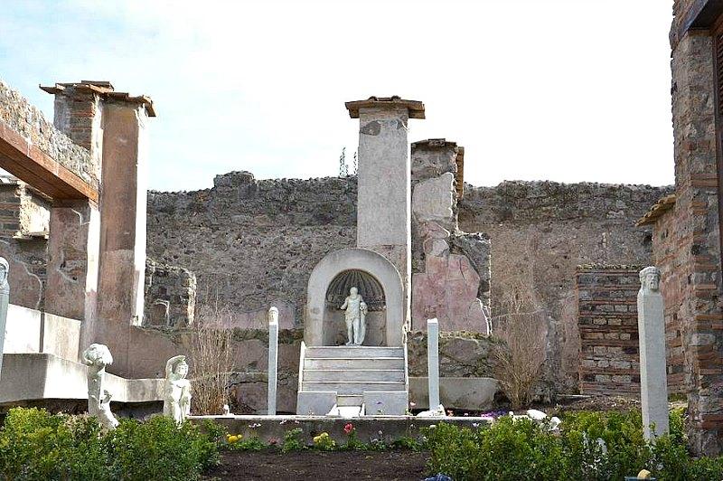 Vista de los jardines de la domus de Marco Lucrezio, en la vía Stabiana, un verdadero parque Patricio. (Fotografía: ABC)