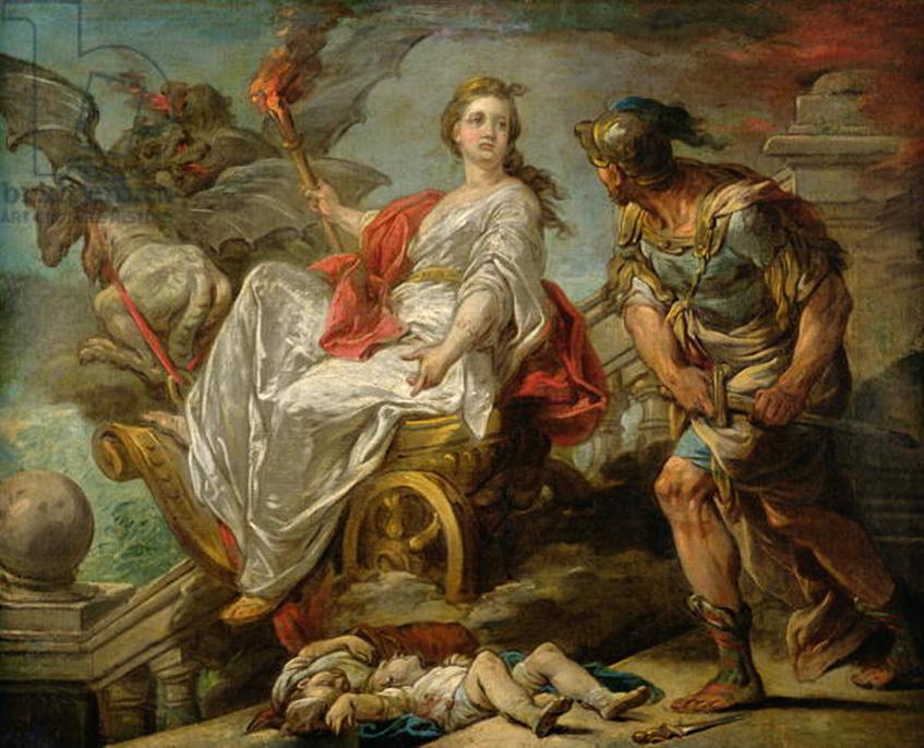 Jasón y Medea, óleo de Charles-André van Loo. Según algunas versiones del mito, Medea mató a dos de sus propios hijos, engendrados por Jasón, cuando él la deja por otra mujer (Dominio público)