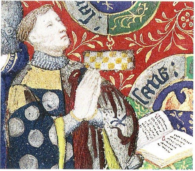 Retrato del Mariscal francés Jean II Le Meingre, famoso por sus victorias bélicas así como por su formidable forma física. Libro de Horas de Juan de Boucicaut (c. 1405-1408). Museo del Ejército de París, Francia. (Public Domain)