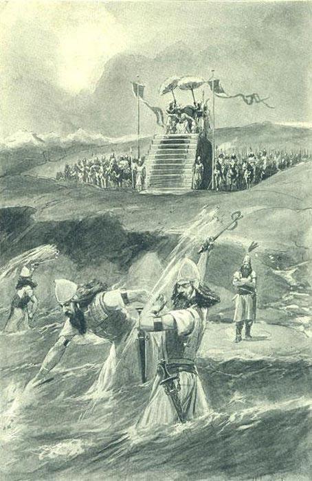 """Jerjes observando los latigazos y el """"encadenado"""" del Helesponto (Ilustración de 1909). (Public Domain)"""