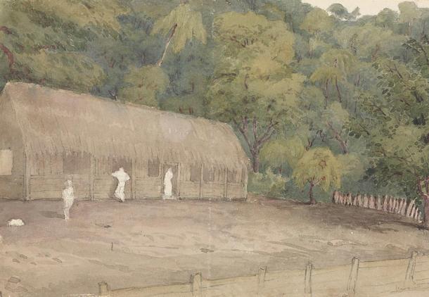 La casa y la tumba de John Adams en la isla de Pitcairn, 12 de Agosto de 1849 (Wikimedia Commons)