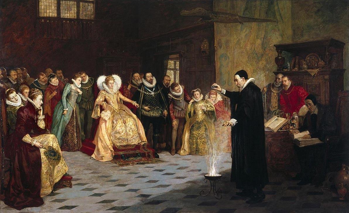 realizando un experimento ante la reina Elizabeth I. Óleo de Henry Gillard Glindoni. 1913 (Wikimedia Commons)