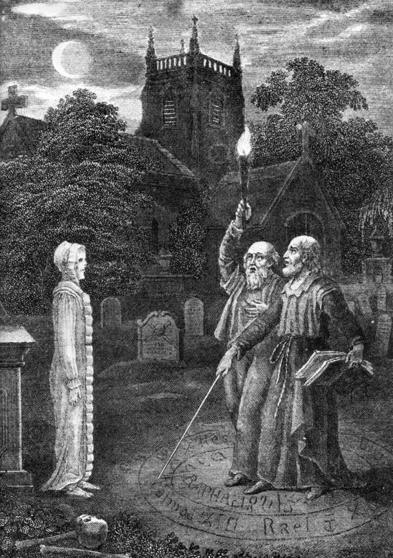 """Los grimorios a menudo proporcionaban técnicas para la invocación de los muertos, así como la invocación de ángeles o demonios. """"John Dee y Edward Kelly evocando un espíritu"""" (Dominio público)"""