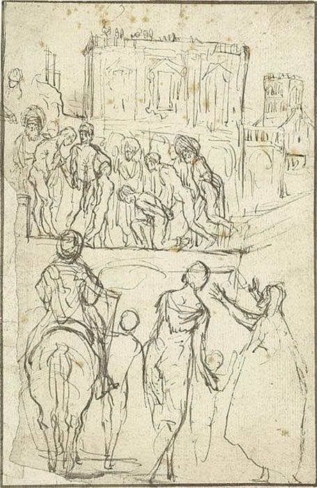 Josefo es conducido por Nicanor ante el emperador Vespasiano (Dominio público)