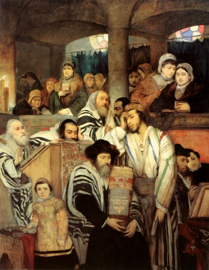 'Judíos rezando en la sinagoga el día de Yom Kippur', óleo de Maurycy Gottlieb (Public Domain)