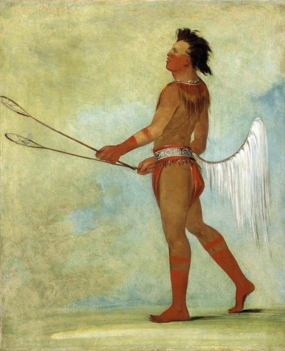 Jugador de pelota Choctaw, pintura de George Catlin realizada en 1834. (Public Domain)