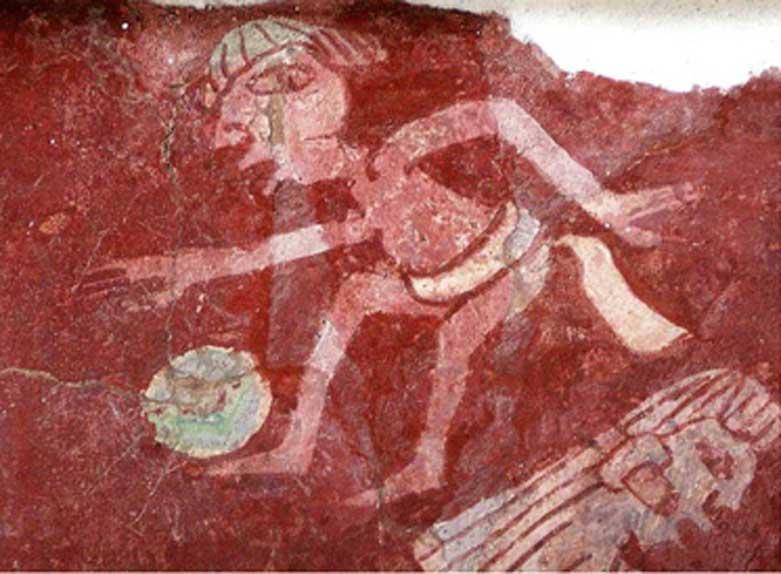Detalle de una reproducción del mural de Tepantitla de Teotihuacán en la que se observa la figura de un jugador de pelota. (CC by SA 2.0)