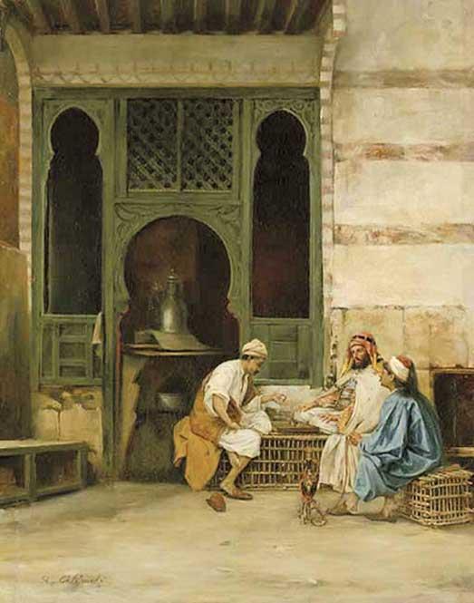 Jugadores de ajedrez, El Cairo, óleo de Stanisław Chlebowski (1835-1884) (Dominio público)