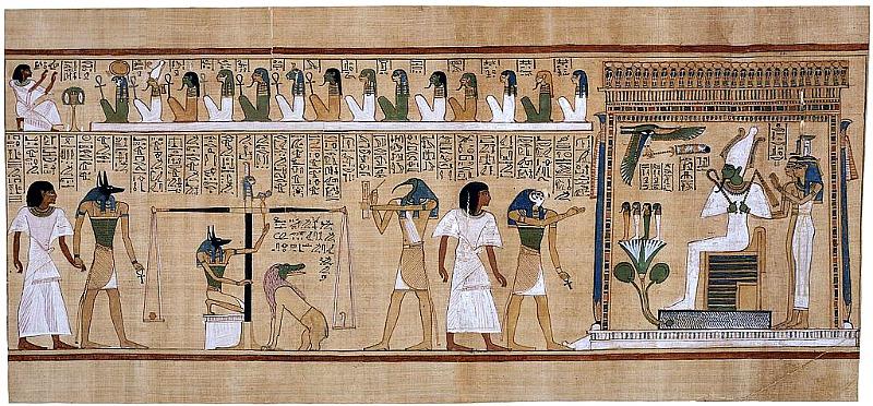 El Juicio de Osiris, representado en el Papiro de Hunefer (ca. 1275 a. C.). Museo Británico de Londres, Inglaterra. Viñetas como ésta eran muy comunes en el Libro de los Muertos egipcio. (Public Domain)