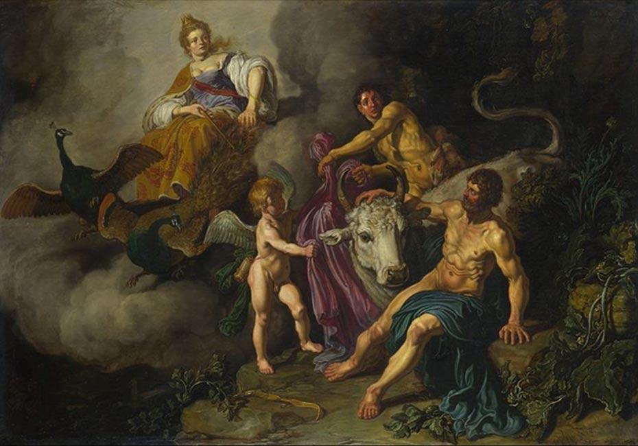 Juno (Hera) descubre a Júpiter (Zeus) con Ío. (Pieter Lastman, 1618)