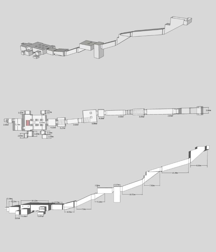 Imágenes de planta, alzado e isometría de la tumba KV57 perteneciente a Horemheb realizadas a partir de un modelo tridimensional. (Wikimedia Commons)