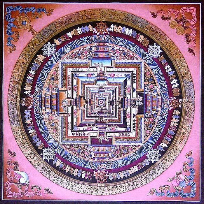 Kalachakra mandala thangka pintado en el Monasterio Sera, Tíbet. (Dominio público)