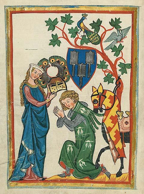 Konrad von Limpurg es armado caballero por su dama en el Codex Manesse (principios del siglo XIV). (Dominio público)