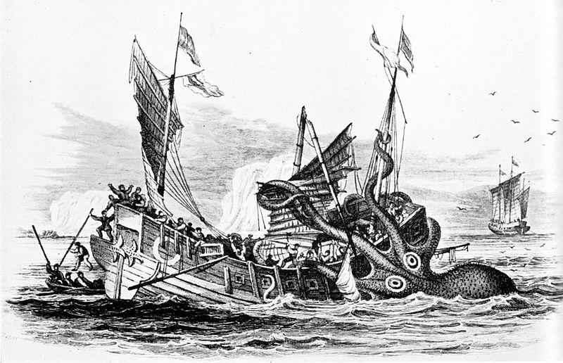 Kraken atacando a un barco mercante (1810). Dibujo de Pierre Dénys de Montfort († 1820). (Public Domain)