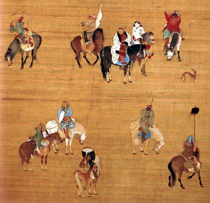 Kublai Kan en una expedición de caza, detalle de una pintura sobre seda realizada en el año 1280 por el pintor de la corte Liu Guandao. Obsérvese cómo Kublai Kan viste pieles al estilo mongol sobre prendas de seda típicas de la cultura china Han. Museo del Palacio Nacional de Taipei, Taiwán. (Public Domain)