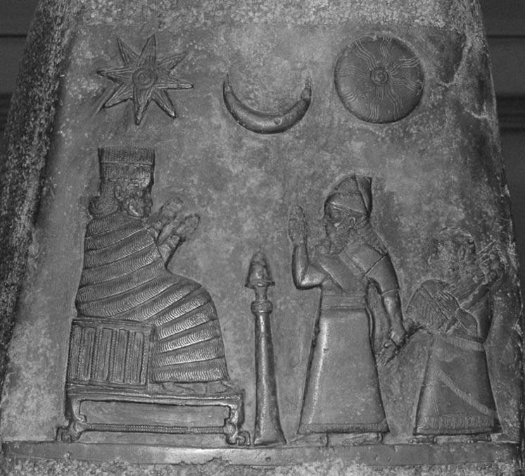 Los fenómenos astronómicos eran muy importantes para los babilnios. Kudurru (estela) del rey Melishipak I (1186 a. C. – 1172 a. C.): el rey presenta a su hija a la diosa Nannaya. La luna creciente representa al dios Sin, el sol a Shamash y la estrella a la diosa Ishtar. (Public Domain)