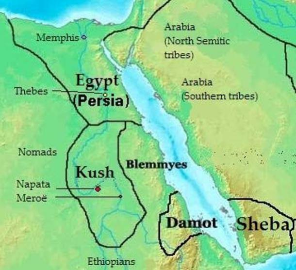 Situación geográfica de Kush – Mapa de reinos, estados y tribus del nordeste africano en el 400 a. C. (Creative Commons)