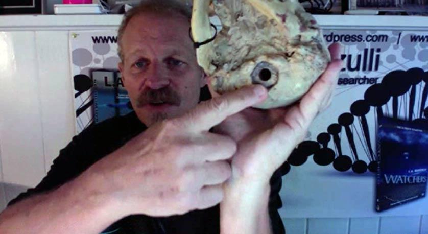 L. A. Marzulli señala la posición del foramen magnum en un cráneo Paracas, que es además el punto en el que se perforó a fin de extraer polvo de huesos para realizar las pruebas de ADN.
