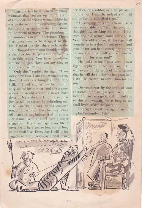 """Página de una traducción inglesa de """"La anciana y el tigre."""" (Jeff Kaufman)"""