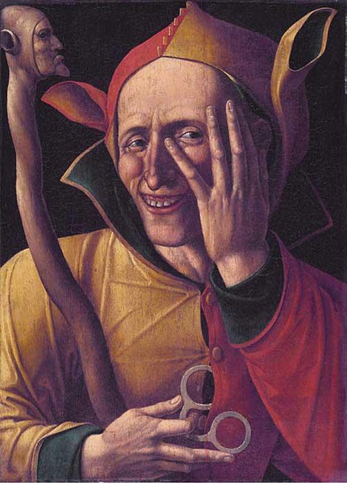Bufón con su típico gorro de orejas de burro y su cetro. 'La risa del bufón', siglo XV. Museo de Arte de Suecia, Estocolmo (Public Domain)